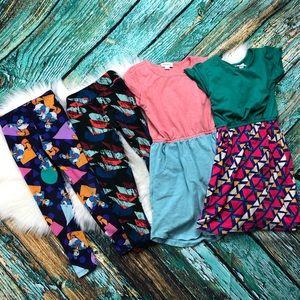 Lularoe Girls Lot 2 Dresses & 2 Leggings Size 6